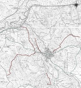 Vista general de la red de caminos rurales en el Municipio de El Salar, remarcados en rojo los acondicionados  que confluyen a la Vía Pecuaria de Sevilla a la A-92 (en verde) que proporcionan nuevos accesos y mejoran la comunicación entre las distintas zonas que están en su zona de influencia.