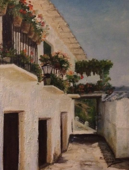 Paisajes urbanos de la Alpujarra granadina. Los Tinaos. Óleos de la colección privada de la familia Gómez Vargas.