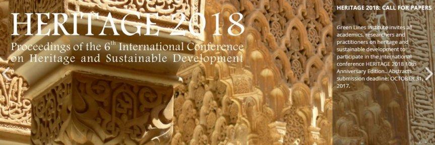 Conferencia Internacional sobre Patrimonio y Desarrollo Sostenible. Congreso Heritage 2018 enGranada.