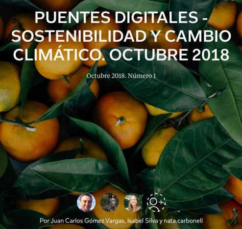 Portada primer número de la revista Puentes Digitales - Sostenibilidad y Cambio Clinmático.